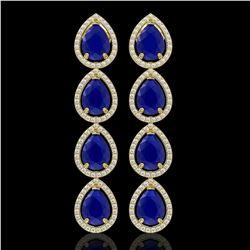 16.01 CTW Sapphire & Diamond Halo Earrings 10K Yellow Gold - REF-186F5N - 41290