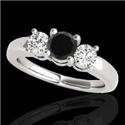 2 CTW Certified VS Black Diamond 3 Stone Solitaire Ring 10K White Gold - REF-185W5F - 35442