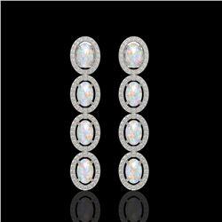 4.05 CTW Opal & Diamond Halo Earrings 10K White Gold - REF-112Y8K - 40517