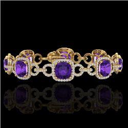 30 CTW Amethyst & Micro VS/SI Diamond Bracelet 14K Yellow Gold - REF-368T9M - 23017
