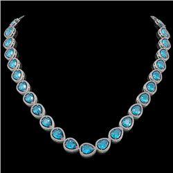 43.2 CTW Swiss Topaz & Diamond Halo Necklace 10K White Gold - REF-609F8N - 41219