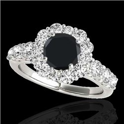 2.25 CTW Certified VS Black Diamond Solitaire Halo Ring 10K White Gold - REF-114T2M - 33385