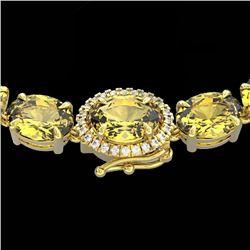 45.25 CTW Citrine & VS/SI Diamond Tennis Micro Pave Halo Necklace 14K Yellow Gold - REF-244Y5K - 402