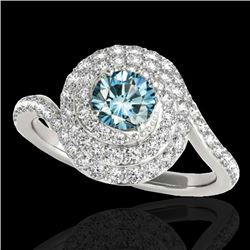 2.11 CTW Si Certified Fancy Blue Diamond Solitaire Halo Ring 10K White Gold - REF-258H2A - 34518