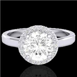 1.75 CTW Halo VS/SI Diamond Micro Pave Ring Solitaire 18K White Gold - REF-489Y5K - 21639