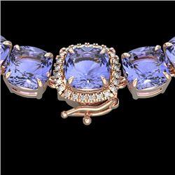 100 CTW Tanzanite & VS/SI Diamond Halo Micro Solitaire Necklace 14K Rose Gold - REF-1345M3H - 23362