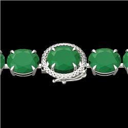 76 CTW Emerald & Micro VS/SI Diamond Halo Designer Bracelet 14K White Gold - REF-461M5H - 22257