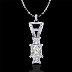 1.54 CTW Princess VS/SI Diamond Solitaire Art Deco Necklace 18K White Gold - REF-418Y2K - 37202