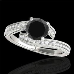 1.75 CTW Certified VS Black Diamond Bypass Solitaire Ring 10K White Gold - REF-89X3T - 35130