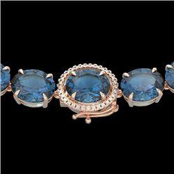 177 CTW London Blue Topaz & VS/SI Diamond Halo Micro Necklace 14K Rose Gold - REF-563A5X - 22302
