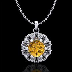 1.2 CTW Intense Fancy Yellow Diamond Art Deco Stud Necklace 18K White Gold - REF-134K5W - 37742