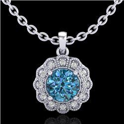 1.15 CTW Fancy Intense Blue Diamond Solitaire Art Deco Necklace 18K White Gold - REF-180M2H - 37845