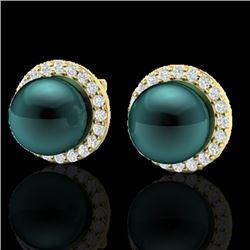 0.50 CTW Micro Halo VS/SI Diamond & Peacock Pearl Earrings 18K Yellow Gold - REF-61M5H - 21500