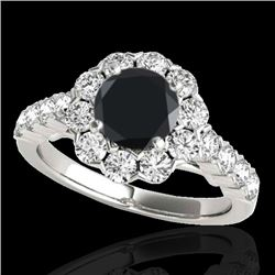 2.35 CTW Certified VS Black Diamond Solitaire Halo Ring 10K White Gold - REF-115X3T - 33547