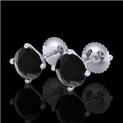 2 CTW Fancy Black Diamond Solitaire Art Deco Stud Earrings 18K White Gold - REF-52N8Y - 38241