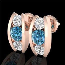 2.18 CTW Fancy Intense Blue Diamond Art Deco Stud Earrings 18K Rose Gold - REF-254F5N - 37769