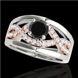 1.3 CTW Certified VS Black Diamond Solitaire Ring 10K White & Rose Gold - REF-77W3F - 35290