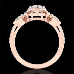 1.01 CTW VS/SI Diamond Solitaire Art Deco 3 Stone Ring 18K Rose Gold - REF-200A2X - 36882