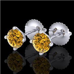 1.01 CTW Intense Fancy Yellow Diamond Art Deco Stud Earrings 18K White Gold - REF-100A2X - 38232