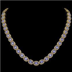 31.96 CTW Tanzanite & Diamond Halo Necklace 10K Yellow Gold - REF-604K2W - 40411