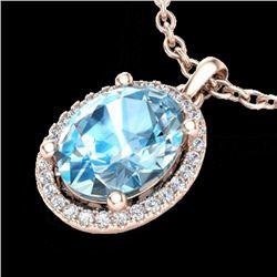 3 CTW Sky Blue Topaz & Micro Pave VS/SI Diamond Necklace Halo 14K Rose Gold - REF-43H6A - 21072