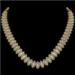 39.68 CTW Marquise Diamond Designer Necklace 18K Yellow Gold - REF-7251M5H - 42778