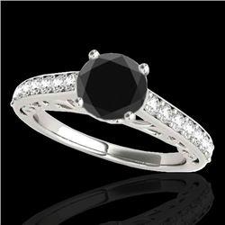 1.65 CTW Certified VS Black Diamond Solitaire Ring 10K White Gold - REF-63M3H - 35026