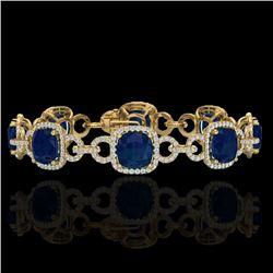 25 CTW Sapphire & Micro VS/SI Diamond Bracelet 14K Yellow Gold - REF-418H2A - 23031