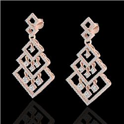 3 CTW Micro Pave VS/SI Diamond Earrings Dangling Designer 14K Rose Gold - REF-267T6M - 22489