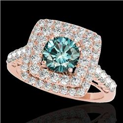 2.05 CTW Si Certified Fancy Blue Diamond Solitaire Halo Ring 10K Rose Gold - REF-225F5N - 34591