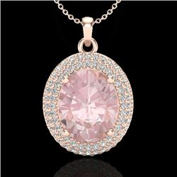 4.50 CTW Morganite & Micro Pave VS/SI Diamond Necklace 14K Rose Gold - REF-150H2A - 20567