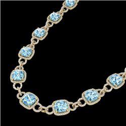 66 CTW Topaz & Micro VS/SI Diamond Eternity Necklace 14K Yellow Gold - REF-805W3F - 23054