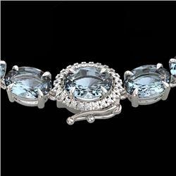 36.25 CTW Aquamarine & VS/SI Diamond Eternity Tennis Micro Halo Necklace 14K White Gold - REF-321K8W