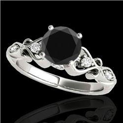 1.15 CTW Certified VS Black Diamond Solitaire Antique Ring 10K White Gold - REF-52K2W - 34813
