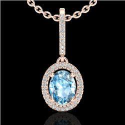 2 CTW Sky Blue Topaz & Micro VS/SI Diamond Necklace Halo 14K Rose Gold - REF-52N2Y - 20652