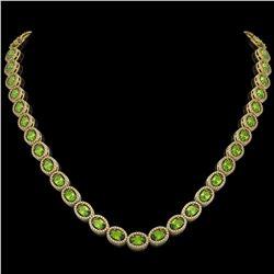 31.1 CTW Peridot & Diamond Halo Necklace 10K Yellow Gold - REF-554M8H - 40429