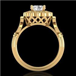 1.2 CTW VS/SI Diamond Solitaire Art Deco Ring 18K Yellow Gold - REF-345T2M - 37051
