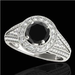 1.7 CTW Certified VS Black Diamond Solitaire Halo Ring 10K White Gold - REF-91T3M - 33970