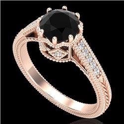 1.25 CTW Fancy Black Diamond Solitaire Engagement Art Deco Ring 18K Rose Gold - REF-100X2T - 37521