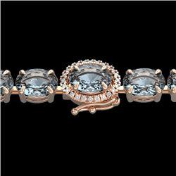 15.25 CTW Aquamarine & VS/SI Diamond Eternity Tennis Micro Halo Bracelet 14K Rose Gold - REF-176X4T