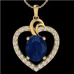 4 CTW Sapphire & VS/SI Diamond Designer Inspired Heart Necklace 14K Yellow Gold - REF-74A9X - 20497