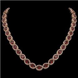 50.08 CTW Garnet & Diamond Halo Necklace 10K Rose Gold - REF-555F6N - 40599
