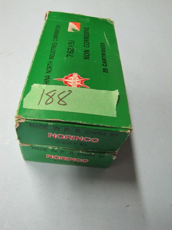 lot of two boxes 7 62 by 51 Norinco  308 Winchester ammo