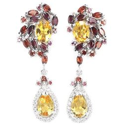 NATURAL CITRINE GARNET RHODOLITE Earrings