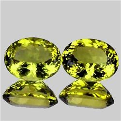 Natural Green Gold Lemon Quartz Pair 15x12 MM - VVS