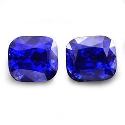 Natural Cushion Royal Blue 8.01 Carat Pair - Untreated