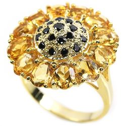 Natural Citrine Sunflower Ring