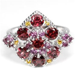 Natural Rhodolite Garnet & Citrine Ring