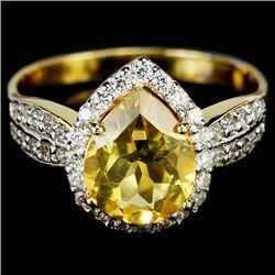 NATURAL  ORANGISH YELLOW CITRINE Ring