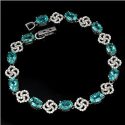 Natural Paraiba Blue Apatite 54 Carats Bracelet